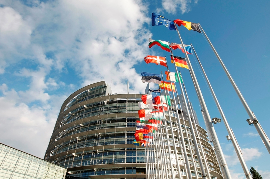 Entrance to the European Parliament Building in Strasbourg