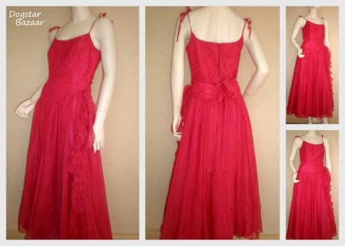 vintage red prom dress