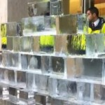 Ice pyramid by activists outside Shell HQ in London