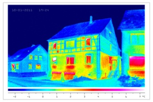 thermal image of house heat loss